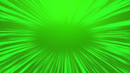 Abstract green comic radial speed line background, cartoon background.