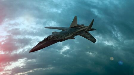 Military fighter plane fly in clouds. Wonderful sunset. 3d illustration. Stok Fotoğraf
