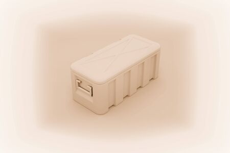 Military box with explosive isolated on white. 3D illustration. 写真素材