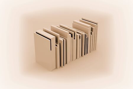 Simplified Stack of Books. 3d illustration. Imagens
