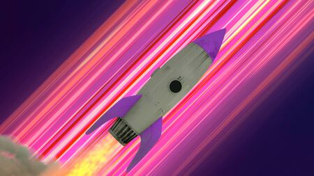 Rocket Ship Flying Through Space. Neon Diagonal Anime Speed Lines. 3d illustration.