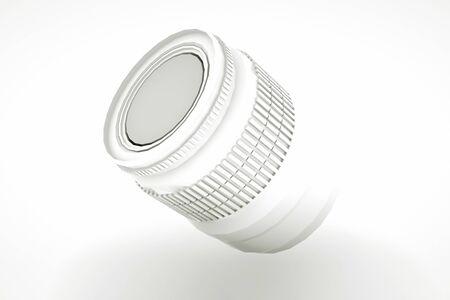 White Professional Camera Lens. 3D illustration. 스톡 콘텐츠