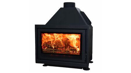 Modern burning fireplace isolated on white background. Stock Photo