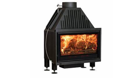 Black modern burning fireplace isolated on white background. Stock Photo
