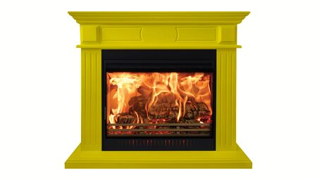 Yellow colorful burning classic fireplace isolated on white background.