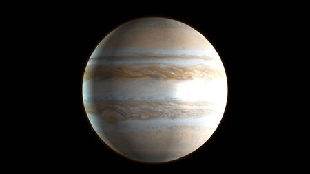 Planet Jupiter in the outer space. 3D Rendering.
