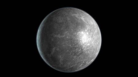 Mercury planet isolated on black background. 3D render.