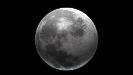 Realistic Moon in the outer space. High detailed texture. 3D Render. Stockfoto