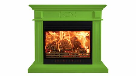 Green colorful burning classic fireplace isolated on white background. Stockfoto