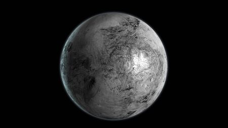 Haumea dwarf planet isolated on black background. 3D render.