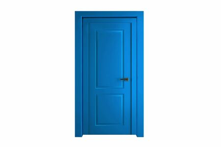 Modern blue room door isolated on white background. Stockfoto