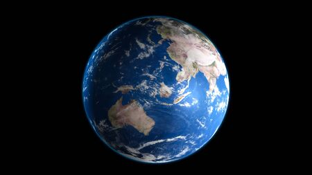 Earth blue planet isolated on black background. 3D Rendering. Stockfoto