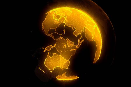 Digital yellow planet of Earth. Globe with shining continents. 3D illustration with digital Earth and particles. Stockfoto