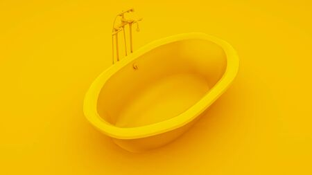 Modern bathtub isolated on yellow background. 3d illustration. Stockfoto