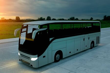 Tourist white bus on the road, highway. Touristic and travel concept. 3d illustration. Stockfoto
