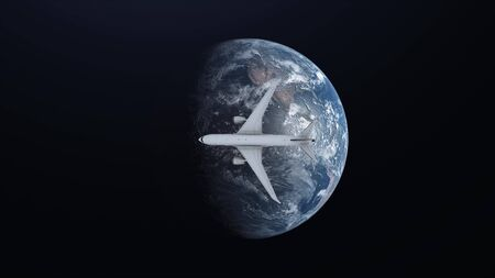 Travel concept of airplane flying around earth on space background. 3d illustration. Stockfoto