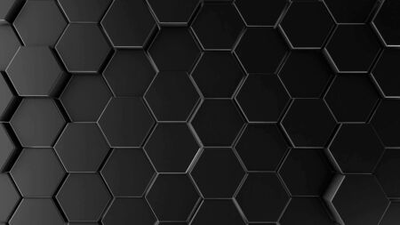 Abstract dark hexagon geometry background. 3d illustration of simple primitives with six angles in front. 免版税图像