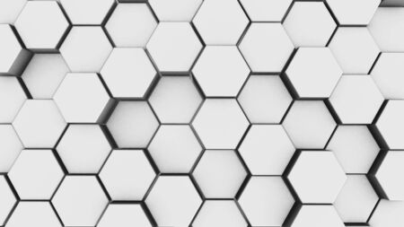 Abstract white hexagon geometry background. 3d render of simple primitives with six angles in front.