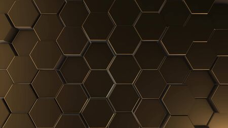 Gold hexagon geometry background. 3d illustration of simple primitives with six angles in front. Stockfoto