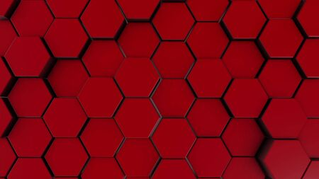 Red hexagonal motion background. 3d illustration of simple primitives with six angles in front. Stockfoto