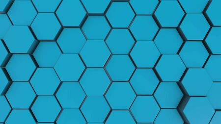 Blue hexagon geometry background. 3d illustration of simple primitives with six angles in front.
