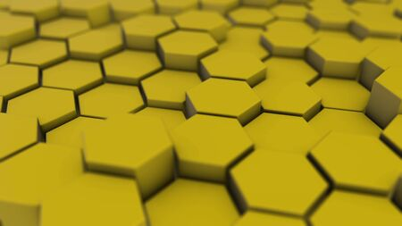 Yellow hexagon geometry background. 3d illustration of simple primitives with six angles in front.