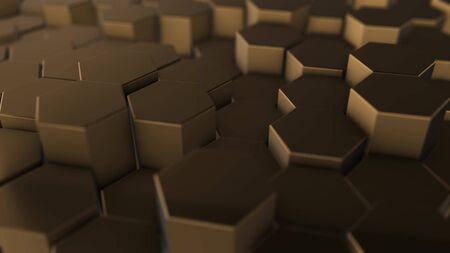 Fondo de geometría hexagonal de oro. Ilustración 3D de primitivas simples con seis ángulos al frente.