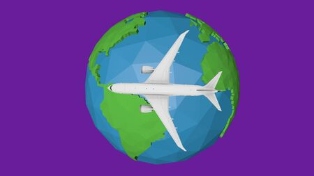 Travel by plane abstract background. Blue earth globe 3d illustration.