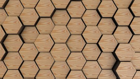 Wooden hexagon geometry background. 3d render of simple primitives with six angles in front.