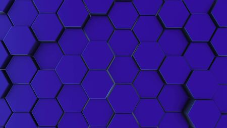 Blue hexagonal motion background. 3d render of simple primitives with six angles in front.