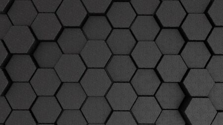 Abstract stone hexagon geometry background. 3d render of simple primitives with six angles in front.