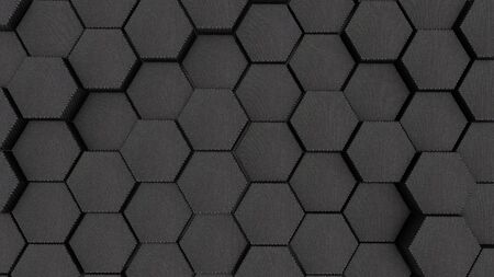 Abstract fabric hexagon geometry background. 3d render of simple primitives with six angles in front.