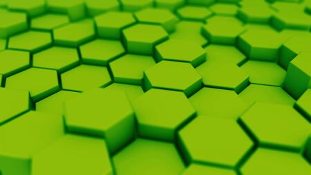 Green hexagonal motion background. 3d render of simple primitives with six angles in front. Stockfoto