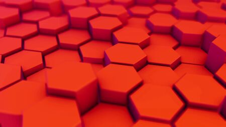 Red hexagonal motion background. 3d render of simple primitives with six angles in front.