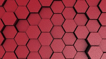 Red rough hexagonal motion background. 3d render of simple primitives with six angles in front.