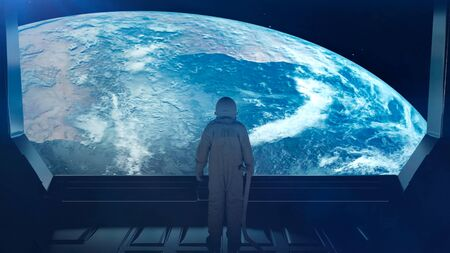 Alone astronaut in futuristic interior. Sci fi room view of the earth. 3d rendering.