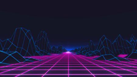 80s Retro Futurism Background. 3d illustration Banco de Imagens