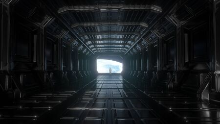 Alone astronaut in futuristic space corridor. View of the earth. 3d rendering.