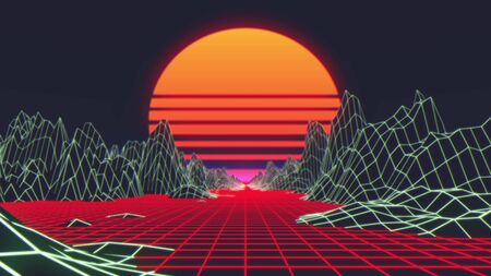 80s Retro Futurism Background. 3d illustration. Imagens