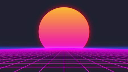 80s Retro Futurism Background. 3d illustration. Banco de Imagens