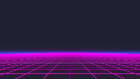 Synthwave wireframe net 80s Retro Futurism Background 3d illustration.