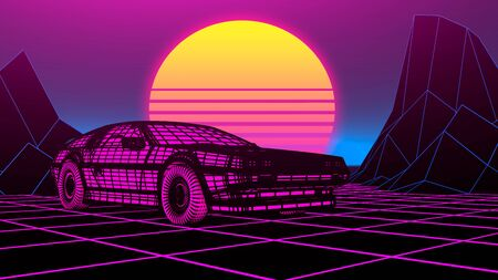 Cyberpunk car in 80s style moves on a virtual neon landscape. 3d illustration. Foto de archivo - 129359416