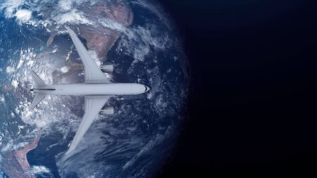 Travel concept of airplane flying around earth. View from space. 3d illustration.