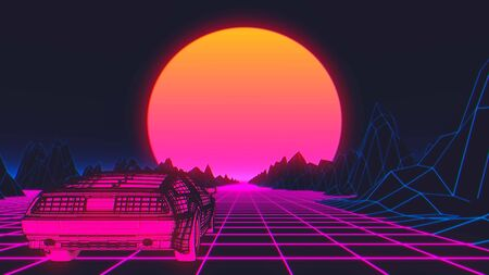 Cyberpunk car in 80s style moves on a virtual neon landscape. 3d illustration.