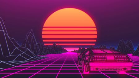 Cyberpunk car in 80s style moves on a virtual neon landscape. 3d illustration. Foto de archivo - 129359422