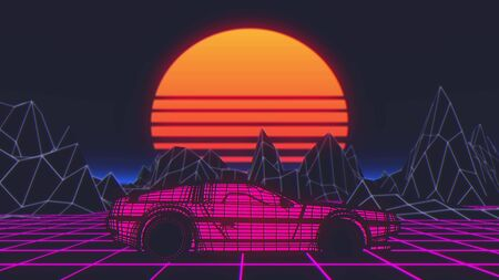 Retro future, 80s style Sci-Fi Background. Futuristic car. 3d illustration.