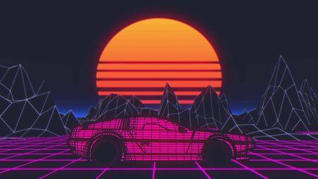 Retro future, 80s style Sci-Fi Background. Futuristic car. 3d illustration. Foto de archivo - 129359427