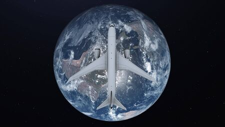 Airplane flying around earth. Travel concept. View from space. 3d illustration. Imagens