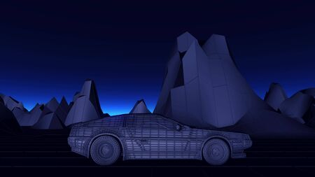 Futuristic Cyberpunk car in 80s style moves on a virtual landscape. 3d illustration. Imagens