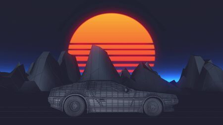 80s Retro Sci-Fi Background with car futuristic synth retro wave 3d illustration.